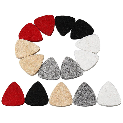Picture of kuou 15 Pcs Guitar Picks - Ukulele Felt Pick Plectrums - Multi-color Ukulele For