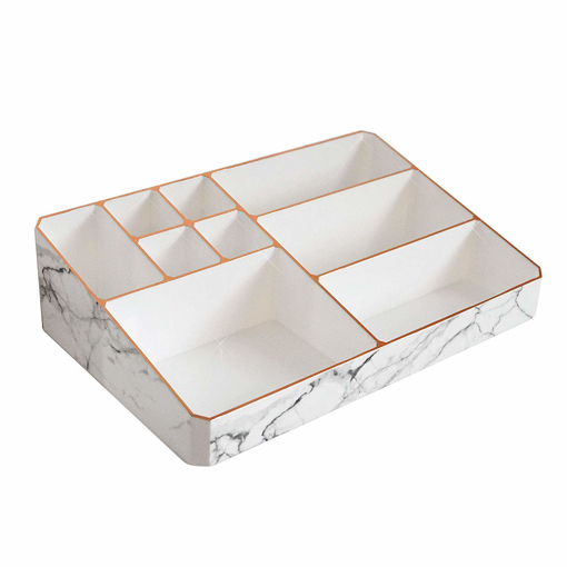 Picture of Nikita By Niki ® White & Rose Gold Marble Make Up Organiser | Acrylic Cosmetic