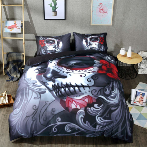 Picture of Skull Duvet Cover Double Size 3D Beauty Skull Floral Printed Quilt Cover with 2