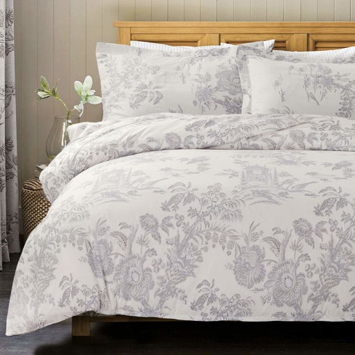 Picture of Bedsure Floral Printed Duvet Cover Set King Size White & Grey Chic Vintage Toile