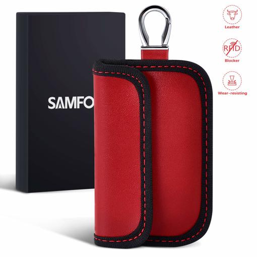 Picture of Samfolk Leather Faraday Bag for Car Keys [2019 NEW] Car key Signal Blocker Case