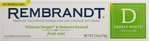 Picture of Rembrandt Deeply White Peroxide Fluoride Toothpaste - Fresh Mint / Free Shipping