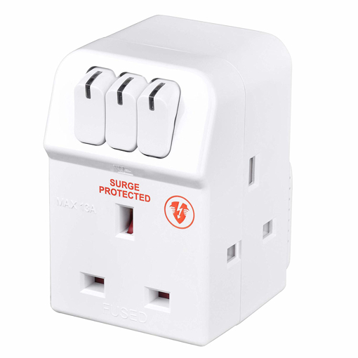 Picture of Masterplug MSWRG3 13amp 3 Socket Surge Protected Adaptor - White