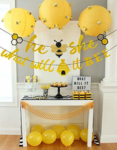 Picture of JeVenis Set of 2 What Will It Bee Gold Glitter Banner and What Will It Bee Cake