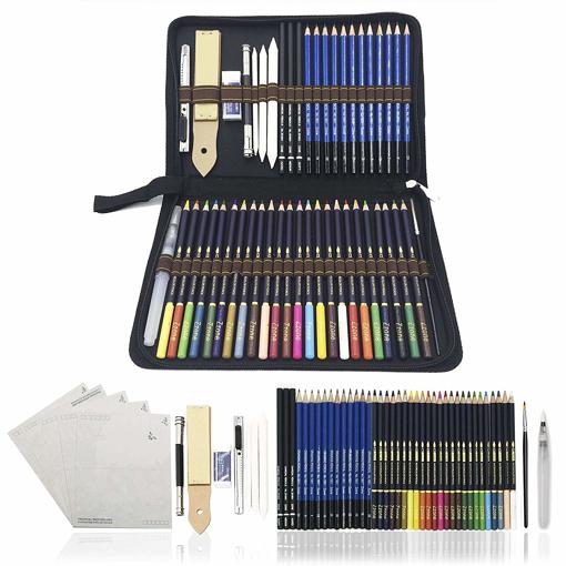 Picture of 54PCS Art Colouring Pencils -Watercolour Drawing Pencils Set - Sketch Pencils with
