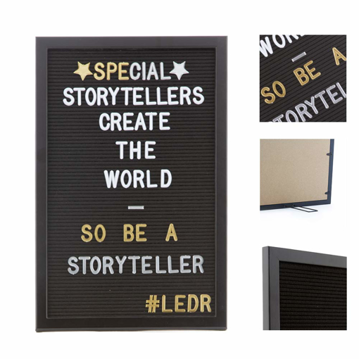 Picture of LEDR® - Felt Letter Board 12 x 18 inch - Including 354 White Letters, Symbols & Emoticons and Adjustable Stand - All Black - Retro Design