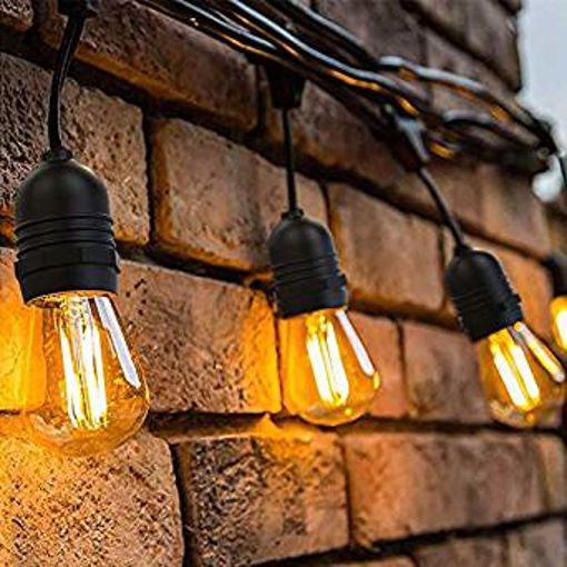 Picture of Outdoor String Lights LED -OxyLED 48ft IP65 Waterproof Heavy Duty Commercial LED String Indoor/Outdoor Patio Lights -E27 15X2W LED 2500K Bulb Lights for Party -Birthday -Christmas -Wedding -Warm White
