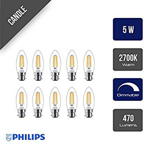 Picture of 10 Pack x Philips Classic Filament LED 5W Clear Dimmable Can