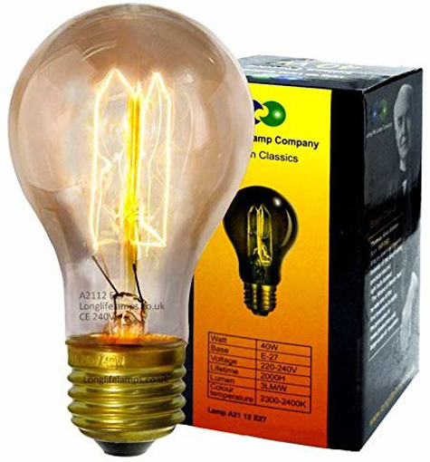 Picture of Vintage Light Bulb Edison E27 Screw Unique Classic Filament