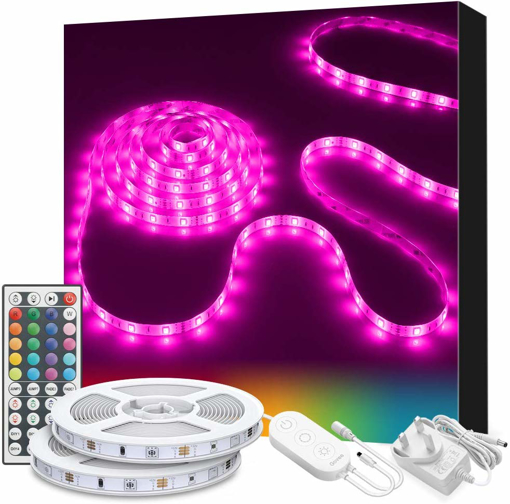 Picture of LED Strip Lights, Govee 10m RGB Multicolour Rope Light Strip Kit with Remote and Control Box for Room Ceiling Bedroom Cupboard Decoration with Bright 5050 LEDs, Strong 3M Adhesive, 2pcs x 5m [Energy Class A+++]