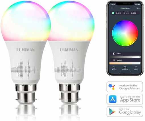 Picture of Alexa Smart WiFi Light Bulbs B22 Bayonet 2 Pack by LUMIMAN RGBCW Colour 7.5w, Compatible with Alexa and Google Assistant
