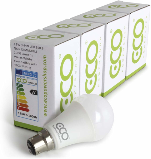Picture of 3 Pin BC3 Non-DIMMABLE Energy Saving LED Light Bulb, 80 Watt