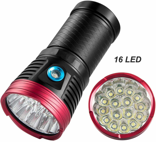 Picture of 12000 Lumens Super Powerful LED Torch - Tactical Flashlight High Lumens Ultra Bright Searchlight 16 x XML-T6 LED - 3 Modes - Waterproof (Battery not Included)