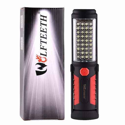 Picture of Wolfteeth 36+5 LED Torch Inspection Lamp Camping Light -Hands-Free Garage Workshop Flashlight for Auto -Emergencies with Adjusting Stand - Hanging Hook and Magnet Base