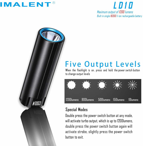 Picture of IMALENT LD10 Mini Powerful Torch CREE XHP HI LED 1200 Lumen IPX-8 Waterproof USB Rechargeable Flashlights 6 Lighting Modes with a Multi-Function Display
