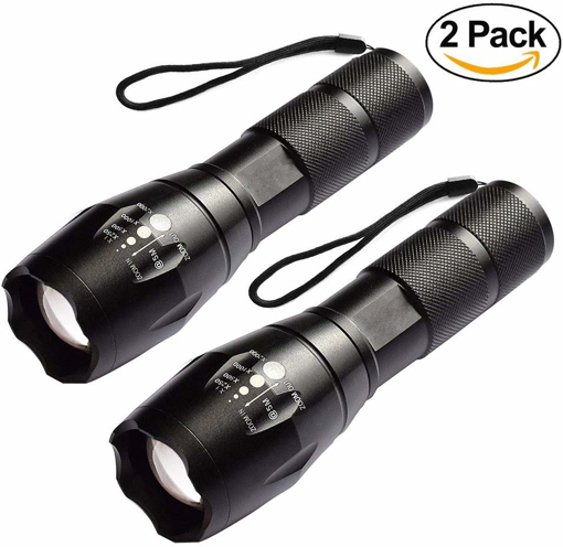 Picture of REDGO Pocket LED Bright Tactical Flashlight Torch - Adjustable Focus Zoom Outdoor Handheld Flashlight Super Bright Waterproof Mini Camping Torch Hand Lamp - 2 Pack