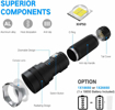 Picture of BESTSUN LED Torch Rechargeable - XHP50 Tactical Torch 3000 Lumen USB Torches LED Super Bright Zoomable Flashlight 3 Models with Battery and Charging Cable