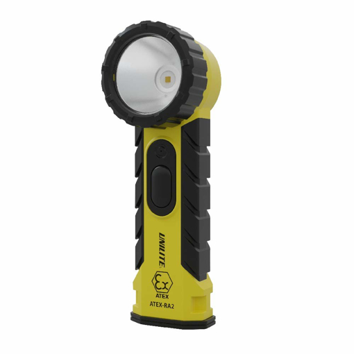 Picture of Unilite ATEX-RA2 Prosafe Zone 0 Intrinsically Safe CREE LED Right Angle Torch IP54   350 Lumen   4 x AA Batteries   6.5 to 13 Hours Run Time   FREE Car Air Freshener