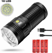 Picture of LED Torch Super Bright-18 x T6 LED 18000 Lumens USB Rechargeable Tactical Flashlight - 3 Modes Waterproof Handheld Torch with Power Display and Batteries for Outdoor Camping Hiking Fishing Caving