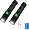 Picture of Yizhet LED Torch Super Bright 1000 Lumen Waterproof Handheld Mini Flashlight Adjustable Focus Tactical Flashlight with USB Charger - Rechargeable Battery for Camping & Outdoor Sports (2PCS)