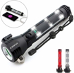 Picture of Spurtar Solar Powered Flashlight 2000 Mah USB Rechargeable Flashlight 300 Lumen with Window Breaker Seat Belt Cutter and Compass 7 Modes