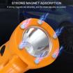Picture of VISLONE Car Flashlight Torch Camping Emergency Multifunction - LED/COB LED Bulb - Flashlight - Window Breaker - Magnet - Highlight Work Lights - Flashing Warning Lights - seat Belt Cutter 6 in 1 (Orange)
