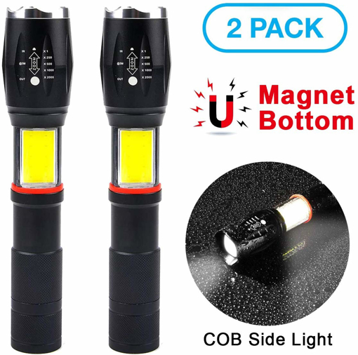 Picture of Lambony 2 Pack Tactical Torch Hand Torch Flashlight LED Ultrahigh Bright COB Magnet Handy Lite Zoom Compatible 6 Modes Waterproof for SOS Blinking Power Outage Disaster Prevention Measures Outdoor