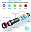 Picture of Pack of 4 Small LED Torches - BYBLIGHT Super Bright 150 Lumen 3-Mode Zoomable LED Pocket Flashlight Torch (with Colored Band Lucid Ring)