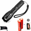 Picture of LED Torch - CREE T6 1200 Lumen Rechargeable Torch & 2X 18650 Battery -3.6-3.7V 3000mAh and Battery Charger ; Tactical Flashlight with 5 Modes - Zoomable Waterproof Flashlight Torch