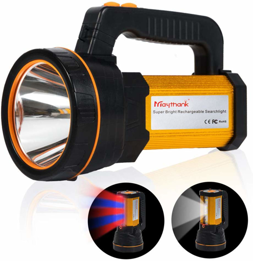 Picture of Heavy Duty Led Torch USB Rechargeable Super Bright Hand held Spotlight Flashlight High Power Big Powerful Searchlight Torch Large Battery 10000MAH - Floodlight Camping Lantern