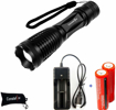 Picture of Constefire LED Torch - CREE T6 1200 Lumen Rechargeable Torch & 2X 18650 Battery -3.6-3.7V 3000mAh and Battery Charger ; Tactical Flashlight with 5 Modes - Zoomable Waterproof Flashlight Torch
