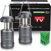 Picture of LETMY 2 Pack Camping Lantern with 6 AA Batteries - Magnetic Base - New COB LED Technology Emits 500 Lumens - Collapsible - Waterproof LED Lantern with Detachable Handles (Twin Pack)
