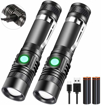 Picture of LED Torch USB Rechargeable - Hoxida LED Flashlights Bright 4 Modes Zoom Torches Light Flashlight for Outdoor Camping
