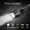 Picture of LED Torch LED Flashlight Set Included 4x18650 Rechargeable Battery 3.7V Button top Battery for Camping - Cycling - Running - Dog Walking and More Outdoor