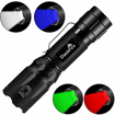 Picture of 4 in 1 LED Torch Super Bright 900 Lumen Red & Green Light Blue Light Multifunctional Handheld Flashlight Adjustable Focus Waterproof Pocket Torch for Camping Outdoor