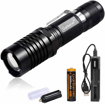Picture of LED Super Bright Torch 3000 lumens 3 X T6 Tactical Flashlight 5 Lighting Modes Zoomable with USB Charger + Rechargeable Battery