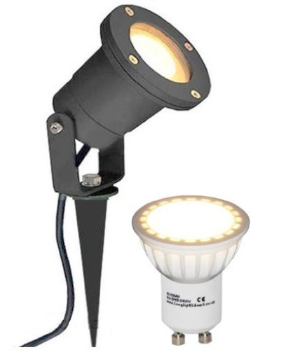 Picture of Long Life Lamp Company GU10 LED Outdoor Garden Spike Ground Mount/ IP65 4 Watt Light - Matt Black
