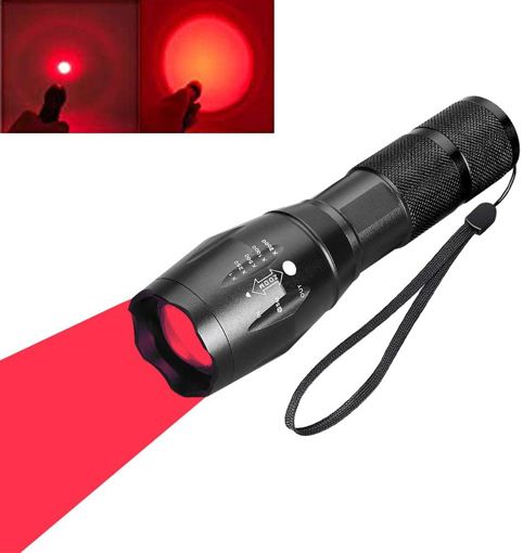 Picture of Red Light LED Torch - Red Tactical Hunting Flashlight Signal Torches Zoomable Adjustable Focus 1 Mode for Night Vision Astronomy Fishing Aviation (Red Beam)