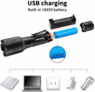 Picture of Rechargeable Flashlight/2 in 1 UV Torch & LED Torch (White Light and UV Light) with Pocket Clip - 500 Lumens/4 Light Modes/Zoom Design/Waterproof/Aviation Aluminum Shell/180g(Battery Included)