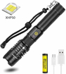 Picture of Super Bright 6000 Lumen XHP50 LED Torch Rechargeable - Zoomable 5 Modes Tactical Torch Waterproof Flashlight Torch with Power Display & Power Bank Function for Camping