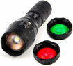 Picture of UltraFire LED Torch Tactical Flashlight A100 -Hunting Torch Red/Green/White Light Led Flashlight 900 Lumens -Waterproof Zoomable Red/Green Beam Torch -Red/Green Light Searchlight -3 Colors Exchange Glass