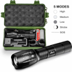 Picture of Oscaring T6 Upgrade LED Flashlight Kits - 5 Modes Tactical Zoomable Torch Waterproof Flashlight with USB Charger - Rechargeable Battery - 360 Cycling Handlebar Mount Flashlight Holster with Case