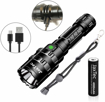 Picture of JaxTec LED Torch -5 Modes L2 Flashlight with USB Charger Super Bright 2400 Lumens Powerful Tactical - Handheld Torch for Camping - Hiking -18650 Rechargeable Battery Included