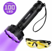 Picture of YOUTHINK UV Torch - 100 LED UV Flashlight with UV Protection Glasses - 395nm Upgraded 100 LED Flashlight Black Light Ultraviolet Lamp - Dog Cat Urine Detector - for Carpet/Floor