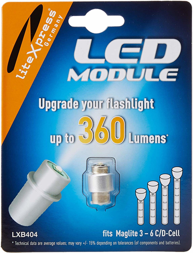 Picture of LiteXpress LXB404 LED Upgrade Module - 360 Lumens for 3-6 C/D Cell Maglite Torches