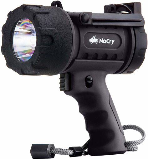 Picture of NoCry 18W Waterproof Rechargeable Torch Light (Flashlight) with 1000 Lumen LED - Detachable Red Light Filter - Wall and Car Charger Attachments - Black