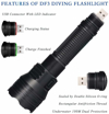 Picture of Diving Flashlight DaskFire Underwater Flashlight Dive Torch 50M 1000Lumens XML-L2 LED Flashlight IPX68 Waterproof USB Rechargeable 3 Modes for Indoors and Outdoors Activities