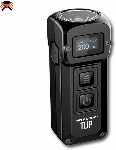 Picture of NITECORE Tup 1000 Lumen Intelligent Pocket Light - Small Torch Rechargeable Keychain Flashlight - Built-in Battery & OLED Display - 54 g [Black]