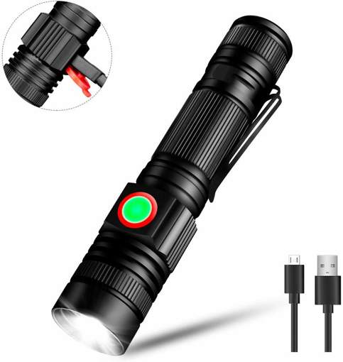 Picture of Linkax USB Rechargeable LED Torch LED Flashlight Handheld Light Super Bright 600 Lumens Outdoor Pocket Torch 3 Modes Waterproof Camping Flashlight with 18650 Battery