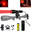 Picture of BESTSUN 300 Yard Red Light LED Torch Focus Adjustable Tactical Coyote Hog Hunting Flashlight Light with Pressure Switch - Scope Mount & Rail Mount - Battery - Charger for Night Observations - Astronomy